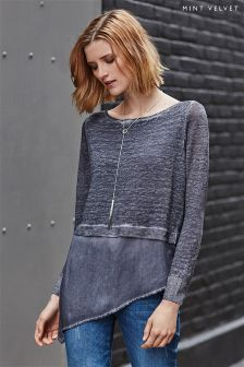 Mint Velvet Grey Overdye Asymmetric Shirt Tail Knit