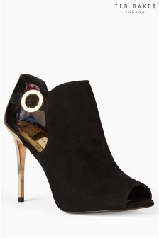 Ted Baker Black Leather Gold Peep Toe Bootie