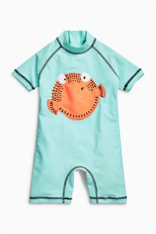 Puffer Fish Embroidered Sunsafe Suit (3mths-6yrs)