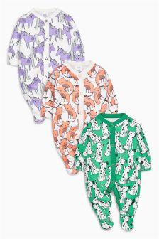 Bright Animal Sleepsuits Three Pack (0mths-2yrs)