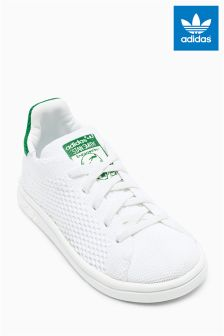 adidas Originals White/Green Knitted Stan Smith