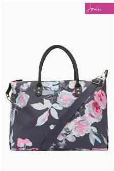 Joules Blue Beau Bloom Printed Canvas Overnight Bag