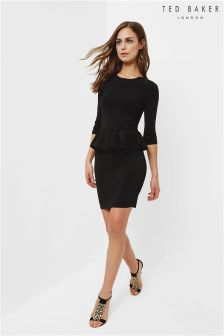 Ted Baker Black Jamnie Peplum Knitted Dress