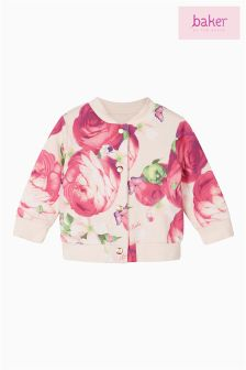 Baker by Ted Baker Pink Reversible Sweat Bomber Jacket