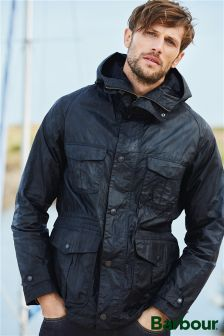 Barbour® Navy Hoy Waxed Jacket