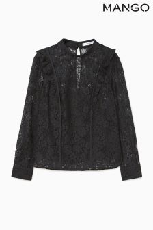 Mango Black Lace Shirt
