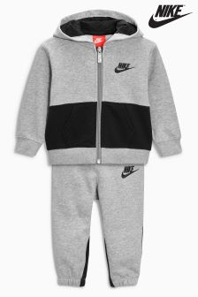 Nike Little Kids Dark Grey Heather Hooded Tracksuit Set