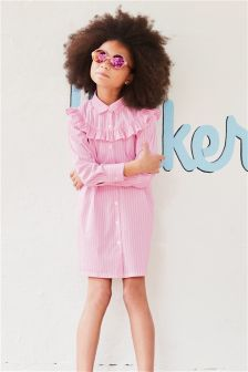 Stripe Ruffle Shirt Dress (3-16yrs)