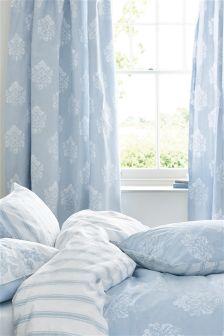 Cotton Rich Blue Damask Pencil Pleat Curtains