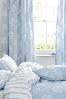 Cotton Rich Blue Damask Pencil Pleat Curtains