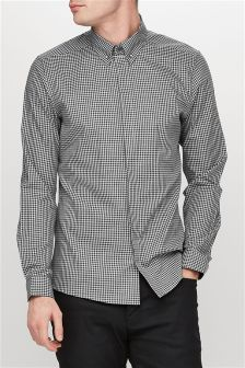 Gingham Long Sleeve Shirt With Collar Pin