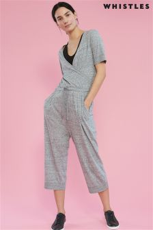 Whistles Grey Marl Cross Front Crop Jumpsuit