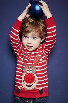 Stripe Christmas Reindeer Pom Pom Long Sleeve T-Shirt (3mths-6yrs)