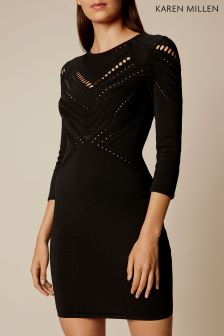 Karen Millen Black Travelling Body Stitch Collection Dress