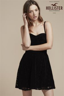 Hollister Black Velvet Party Skater Dress