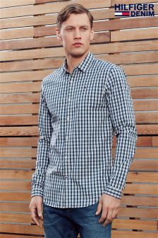 Hilfiger Denim Navy Gingham Check  Shirt