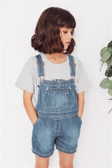 Short Leg Denim Dungarees (3-16yrs)
