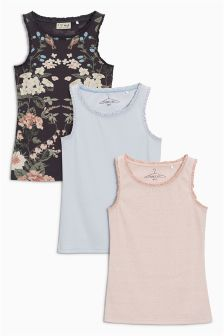 Lace Trim Vest Three Pack (3-16yrs)