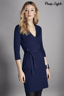 Phase Eight Blue Catarine Wrap Knit Dress