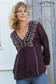 Fat Face Burgundy Stephanie Embroidered Blouse