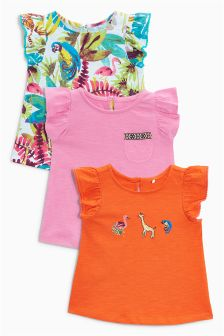 Character Embroidered Frill Vests Three Pack (3mths-6yrs)