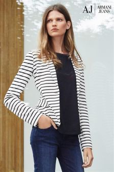 Armani Jeans White/Black Striped Blazer