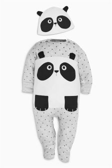 Panda Sleepsuit And Hat (0mths-2yrs)