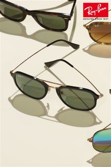 Ray-Ban® Black Hex Aviator Polarised Sunglasses