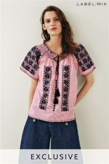 Mix/Rose and Rose Embroidered Smocked Top