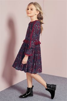 Paisley Ruffle Sleeve Dress (3-16yrs)