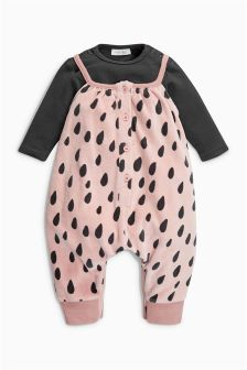 Print Velour Dungarees And Bodysuit (0mths-2yrs)