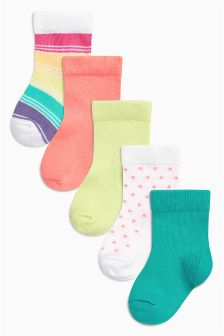 Bright Socks Five Pack (Younger Girls)