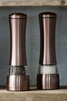 Copper Effect Salt And Pepper Grinder Set