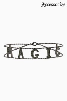 Accessorize Black Magic Word Choker