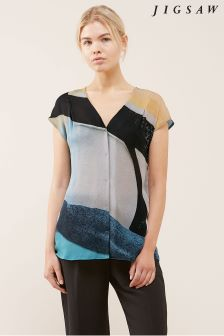 Jigsaw Blue Deconstructed Typo Silk Blouse