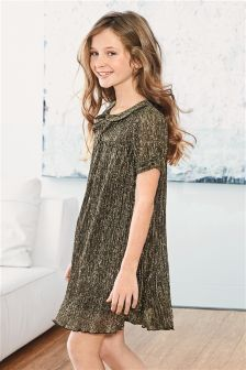 Metallic Bow Collar Dress (3-16yrs)
