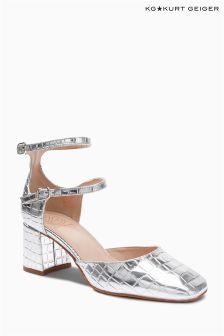 Kurt Geiger Dolly Silver Croc Mary Jane Shoe