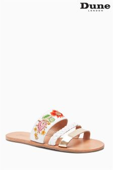 Dune Liberties White Hold Embroidered Mule Sandal