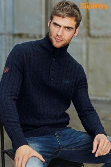 Superdry Navy Button Neck Knit Jumper