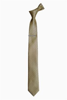 Patterned Tie With Tie Clip