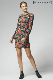 Warehouse Red Lupita Rose Print Dress