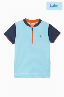 Baker by Ted Baker Blue Baseball Collar Henley