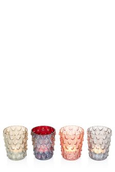 Set Of 4 Feather Tealight Holders