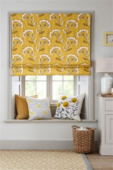 Retro Cow Parsley Print Roman Blind