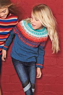 Fairisle Pattern Bouclé Sweater (3-16yrs)