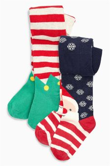 Christmas Character Tights Two Pack (0mths-6yrs)