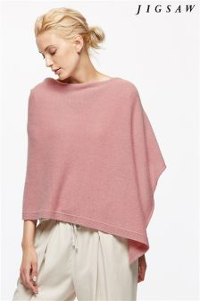 Jigsaw Pink Knitted Ribbed Border Poncho