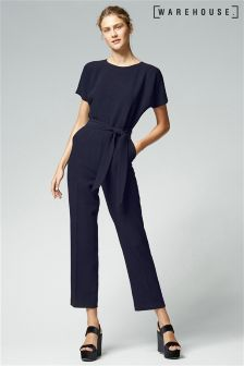 Warehouse Navy Slim Leg Jumpsuit
