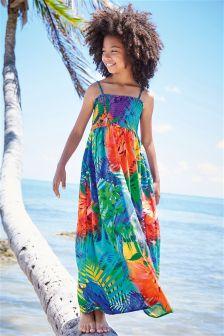 Parrot Print Maxi Dress (3-16yrs)