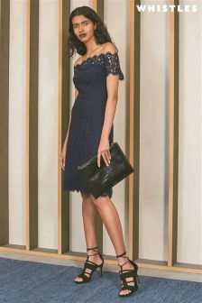 Whistles Navy Off The Shoulder Lace Dress
